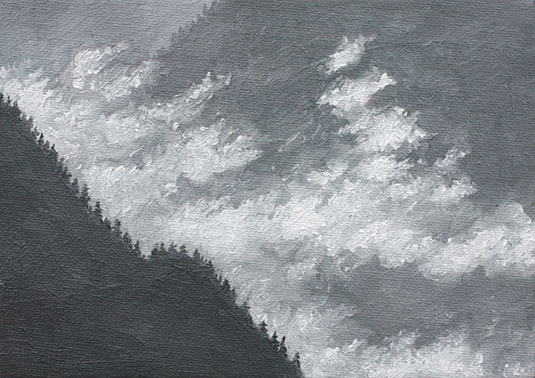 Mountains, Trees, and Clouds